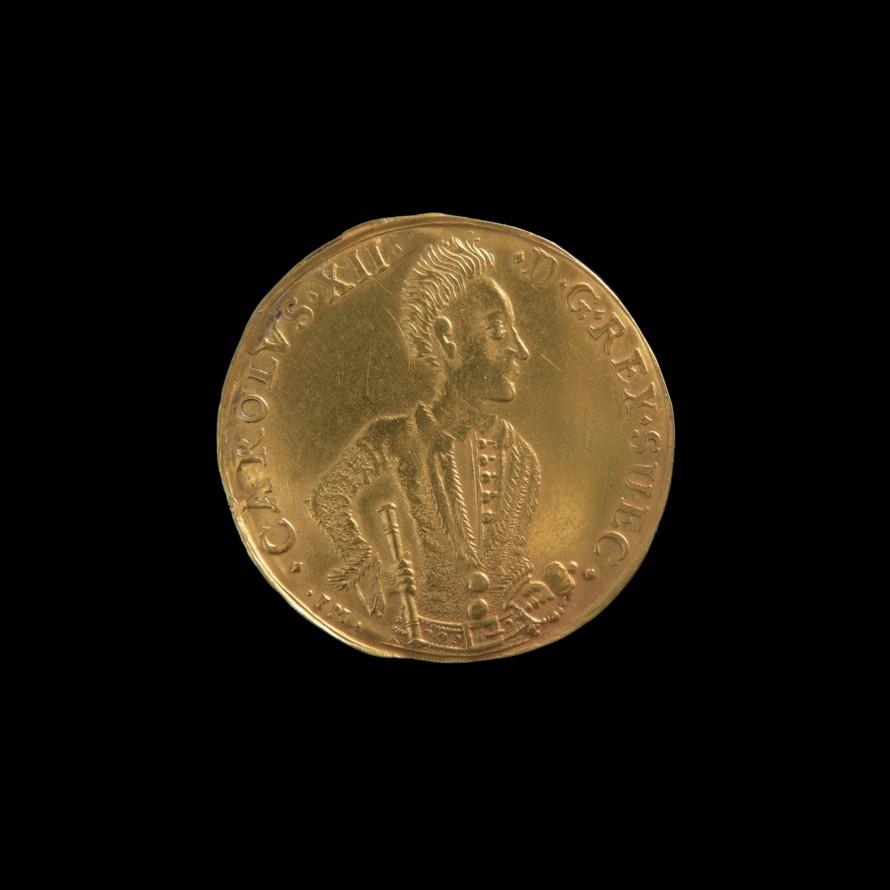 Dwudukat na pamiątkę zwycięstw Karola XII, Memmies, Johann (czynny 1705-1710) (mincmistrz); Karol XII, król szwedzki (1682-1718) (emitent)