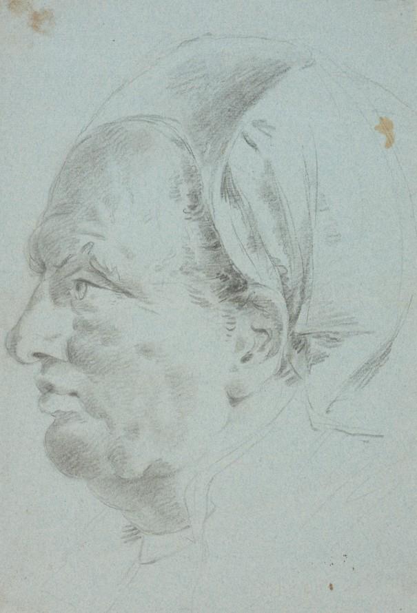 Głowa mężczyzny w turbanie, Tiepolo, Giambattista (1696-1770) (rysownik)