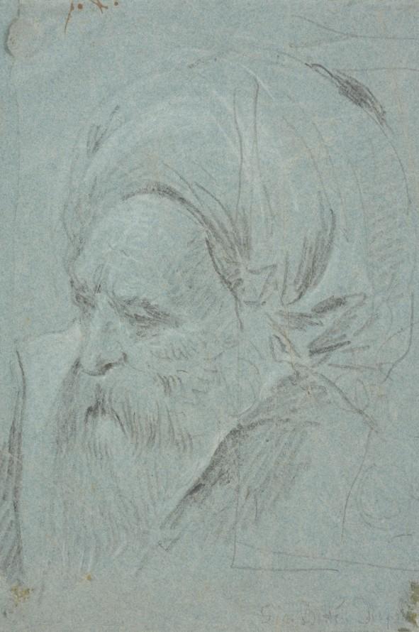 Głowa starego, brodatego mężczyzny, Tiepolo, Giambattista (1696-1770) (rysownik)
