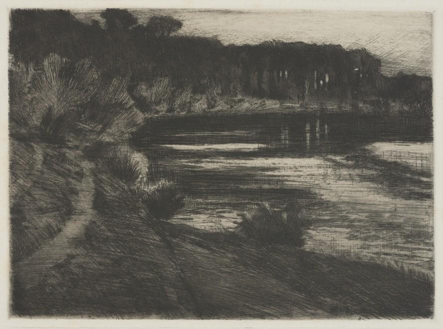 Jezioro leśne (Jezioro Schlachten w Grunewaldzie; Nokturn; Jezioro Grunewald), Leistikow, Walter (1865 - 1908) (rytownik)