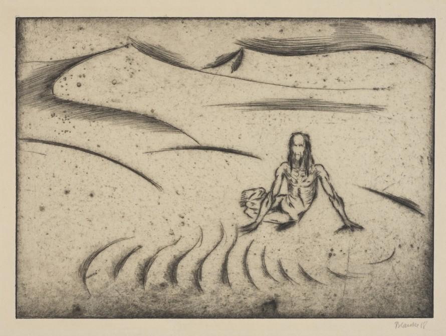 Pasja. Samotna postać na pustyni (Człowiek na pustyni), Blanke, Hans (1886 - po 1930) (rytownik)