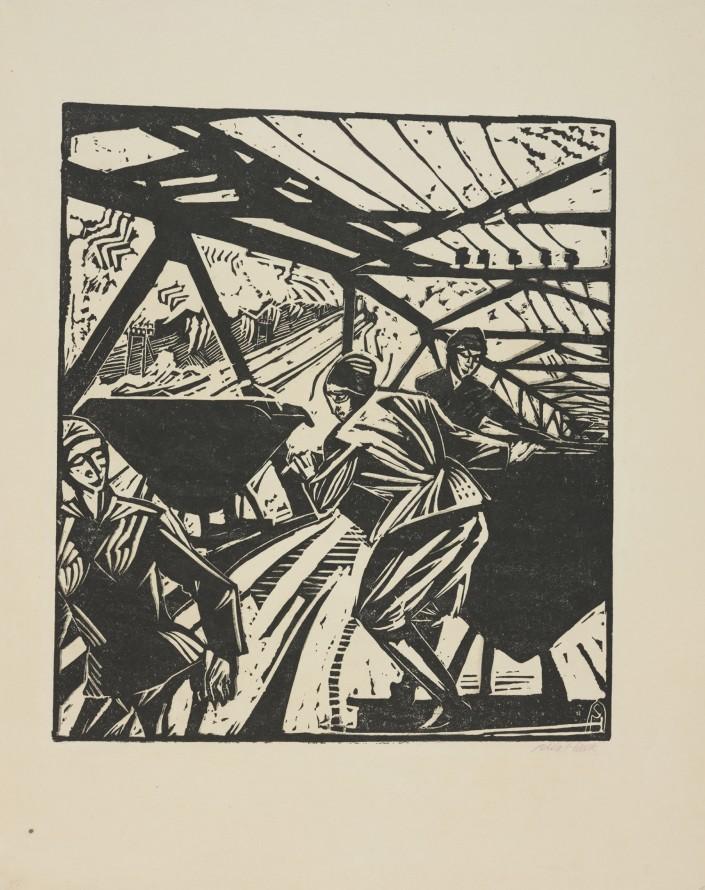 Kobiety w kopalni (Kobiety z wagonikami na przodku), Hasse Sella (Bitterfeld 1878 - Berlin 1963) (rytownik)
