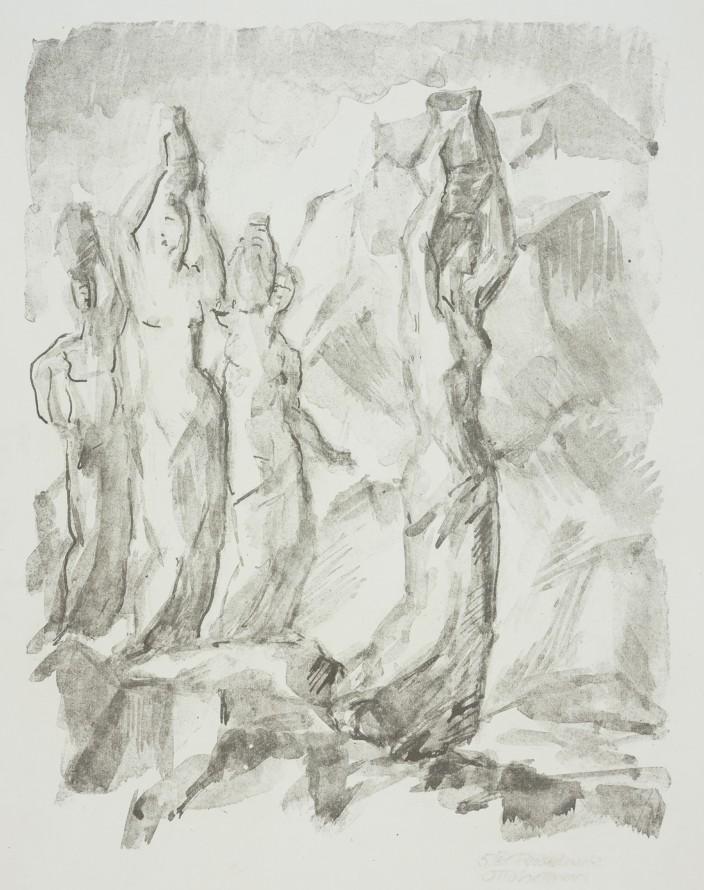 Nosicielki wody w skalistym pejzażu (Niosące dzbany na głowie), Hettner Otto (1875-1931) (grafik)
