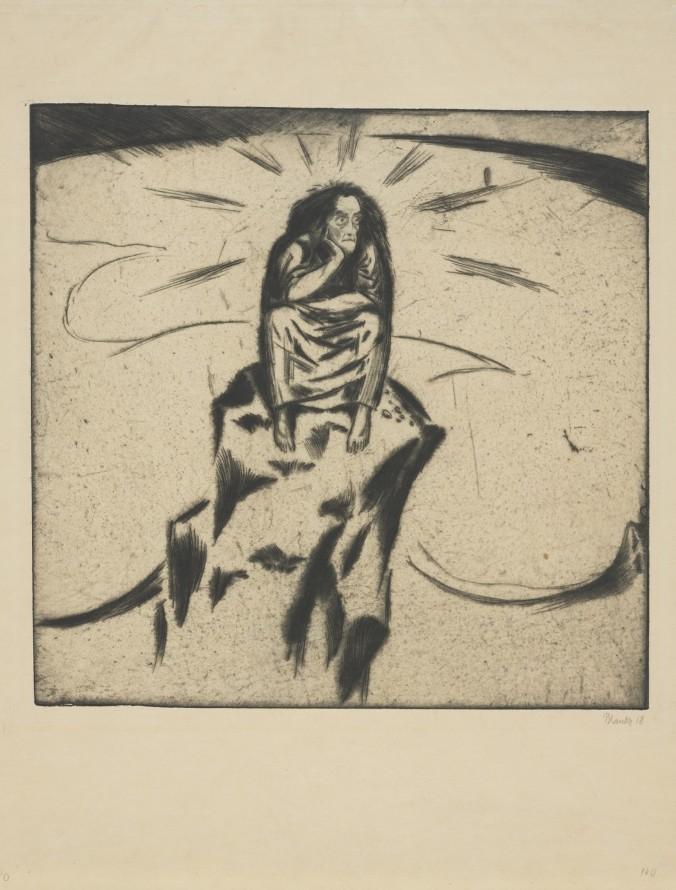 Pasja. Samotna postać na skałach (Człowiek na skale), Blanke, Hans (1886 - po 1930) (rytownik)