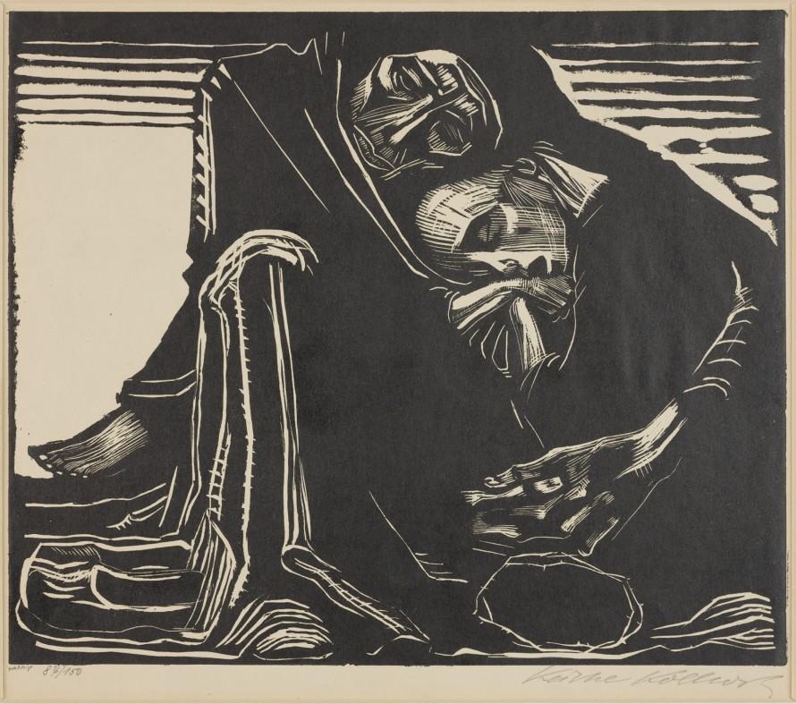 Śmierć z kobietą na kolanach, Kollwitz, Käthe (1892-1925) (grafik); Voigt, F. (?-19..) (drukarz)