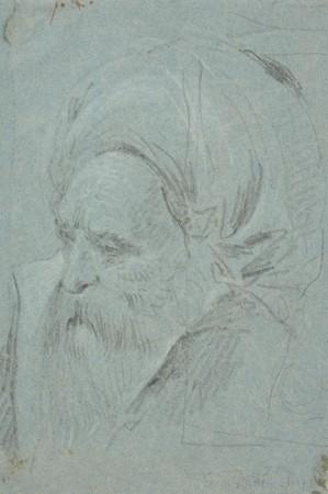 Głowa starego, brodatego mężczyzny