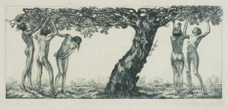 Akty kobiece pod jabłonią (Nagie kobiety zrywające owoce)